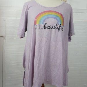 """Lularoe XL """"HELLO BEAUTIFUL """" pink t shirt"""